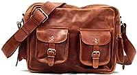 Bolso bandolera de piel, estilo vintage, pockets, carteras, color marrón LE MULTIPOCHES BRONZE