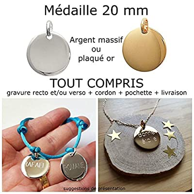 MELI MELOW Pendentif médaille 20 mm et gravure de votre choix recto verso en argent massif ou plaqué or - bijou personnalisé gravé made in France MIF