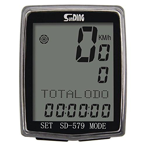 SUNDING SD-579C Compteur de Vitesse sans Fil pour Vélo & VTT- Chronomètre vélo Multifonction Ordinateur Compteur de Vitesse odomètre capteur