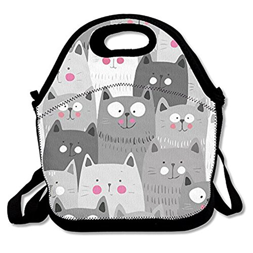 ZMvise Gray White Cats Lunch Tote aislado almuerzo