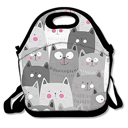 ZMvise Gray White Cats les sacs réutilisables pique - nique déjeuner tote isolés boîtes hommes femmes enfants toddler infirmières sac de voyage