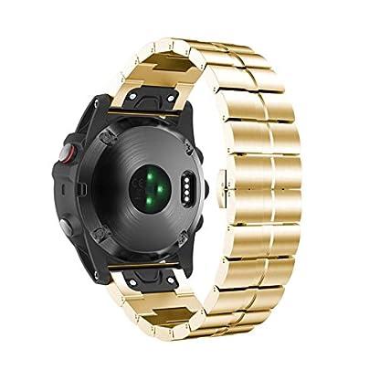 Voberry-Armband-Edelstahl-Armband-Schnellverschlu-Band-Bgel-fr-Garmin-Fenix-3-HR-Uhr