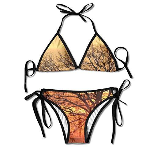 Women's Silhouette Bare Tree Against Sky During Sunset Beachwear Adjustable Sexy Bikinis Set -