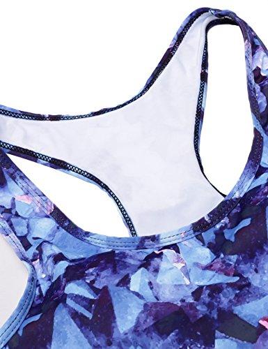 Ekouaer Damen reizvolles Bikini-set High Waist Badeanzüge Strand Sexy Bademode Sport Rosa Rot/Blau/Grün((S-XL) Blau