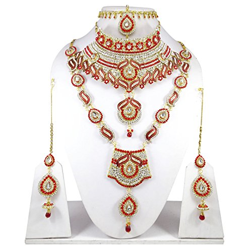 Banithani Concepteur De Bollywood Indian Collier De Mariée Mariage Fixé Bijoux Traditionnels argent et rouge