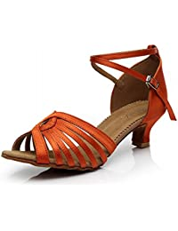 BYLE Leder Sandalen Samba Modern Jazz Tanzen Schuhe Erwachsene Frauen Latin Tanzen Schuhe Heel Satin Leder mit...