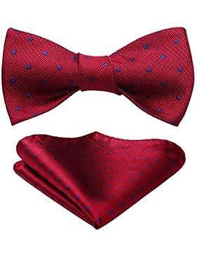 Hisdern - Corbata de bolsillo cuadrada para hombre, diseño de lunares, para bodas y fiestas