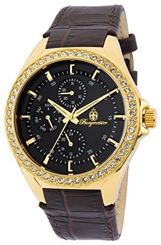 Burgmeister Armbanduhr für Damen mit Analog Anzeige, Quarz-Uhr und Lederarmband - Wasserdichte Damenuhr mit zeitlosem, schickem Design - klassische, elegante Uhr für Frauen - BM529-225 Tampa
