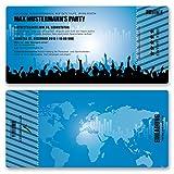(40 x) Einladungskarten Geburtstag Eintrittskarte Party Ticket Einladungen Blau