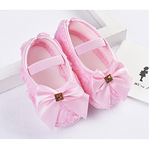 Zhhlinyuan Cute Girls Baby Soft Sole Shoes Toddler Silk Crib Shoes Princess shoes Pink
