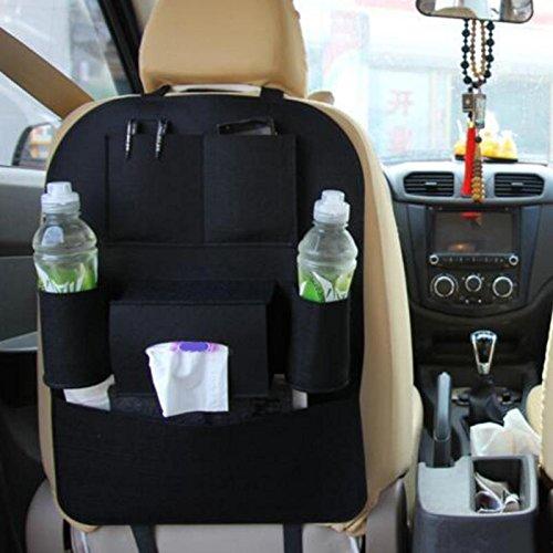 sitz Schutz Rückenlehnenschutz AutoSeat Multi Pocket Reisetasche KleiderbügelStyling Zurück Auto Sitzbezug Organizer Halter Rücksitz, Schwarz ()
