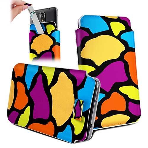 Handytasche / Handyhülle in unterschiedlichen Größen für viele Handys z.B. Samsung Galaxy S7 S6 S5 S4, iPhone 7 6s 6, LG G5 G4 G3, Sony Xperia Z6 Z5 Z4 Z3 & viele weitere Hersteller. Exklusives Design buntes Giraffenmuster