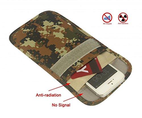 Mengshen® anti-rastreo anti-espionaje contra la radiación anti-anti-desmagnetización señal de la bolsa de bloqueador de señal Jammer, teléfono celular del auricular Función caja de la bolsa del monedero de MS-PX04Camo