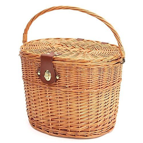 H-ONG Bicycle Basket Front Wicker Shopping Basket Vintage Cycle Mountain Bike Front Basket with Folding Lid Leather Straps -
