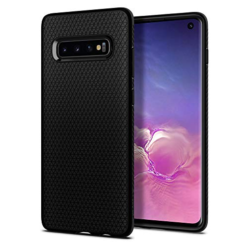 Spigen 605CS25799 Liquid Air Kompatibel mit Samsung Galaxy S10 Hülle, Stylisch Muster Design Handyhülle Schutzhülle Capsule Case Schwarz Design Schutzhülle