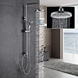 Auralum® Système de Douche Mural Douchettes Colonne de Douche pour Salle de Bain Design Élégant Laiton Chromé Solide (Modèle C / sans robinet)