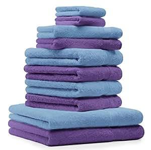 10 tlg Handtuch Set Premium Farbe Lila & Blau 100% Baumwolle 2 Duschtücher 4 Handtücher 2 Gästetücher 2 Waschhandschuhe