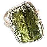 Czech Moldavite, Tschechischer Moldavit 925 Sterling Silber Ring 7