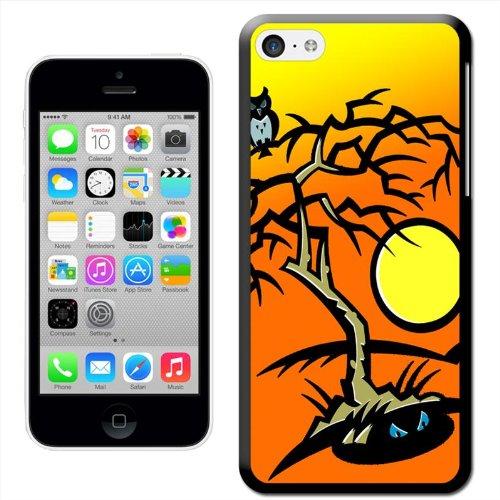 Fancy A Snuggle 'Fledermäuse auf Friedhof Halloween mit Full Moon' Hard Case Clip On Back Cover für Apple iPhone 5C Evil Forest Hooting Owl