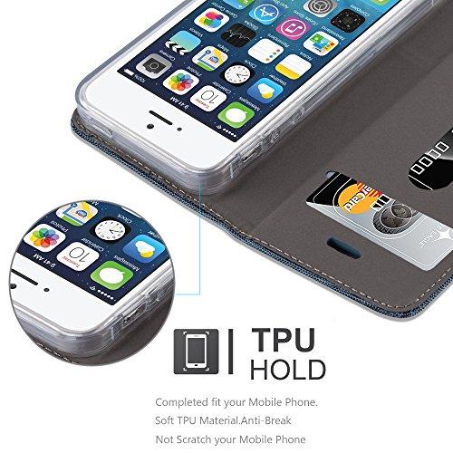 Apple iPhone 5 / 5S / SE Hülle in HELL-GRAU BRAUN von Cadorabo - Handy-Hülle im Stoff Design mit Magnet-Verschluss Standfunktion Karten-Fach Case Cover Schutz-hülle Etui Tasche Book Klapp Style DUNKEL-BLAU-SCHWARZ