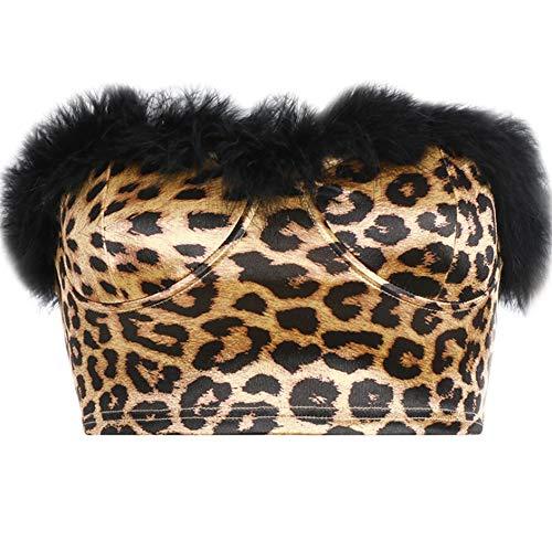 zyr Underwear BH, Damen sexy Weste Tops Damenmode sexy Leopard Print, Stretch ärmellos, ärmelloser BH umhüllt Brust Fitness Yoga-BH -