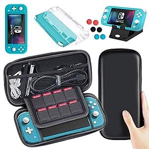 Lachesis Tasche Kompatibel für Nintendo Switch Lite, 5 in 1 Zubehör für Nintendo Switch Lite Tragetasche + Switch Lite Hülle + Switch Lite Schutzfolie + Nintendo Switch Lite Ständer + 6 Daumen Kappen