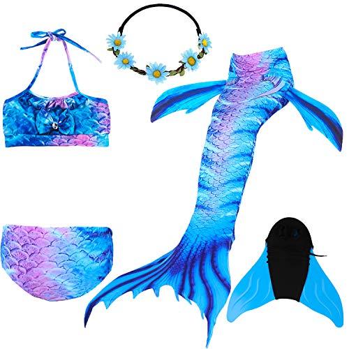 COZY HUT 2019 Mädchen Meerjungfrauenschwanz Zum Schwimmen mit Meerjungfrau Flosse- Prinzessin Cosplay Bademode für das Schwimmen mit Bikini Set und Monoflosse, 5 Stück Set