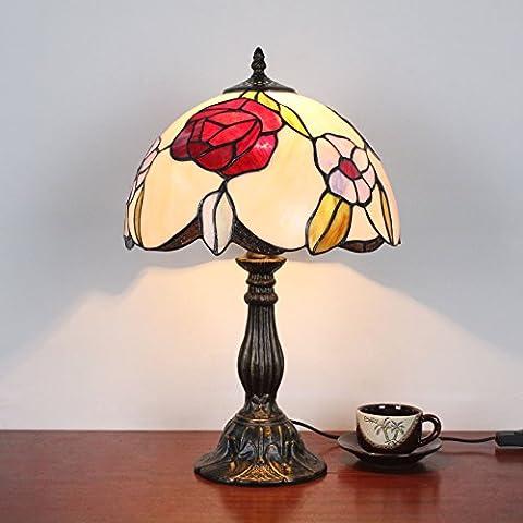 Lampe Tiffany - 12 pouces Vintage Pastoral Fleurs rouges Vitrail