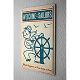 Diversión Cartel de chapa Placa metal tin sign Decoracion De La Pared Bienvenido marineros Distancia entre ruedas 20X30 cm