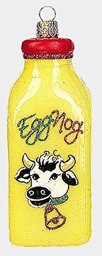 Pinnacle Peak Trading Company Jug of Eggnog Polish Mouth Blown Glass Christmas Ornament Egg Nog Decoration -