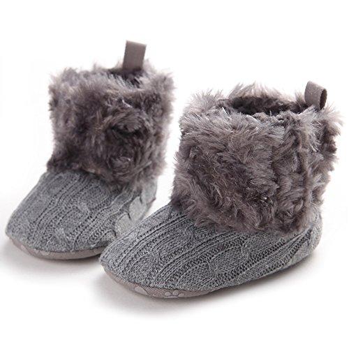 Bébés filles Bottes de neige molle Bas Bottes Polaires Souliers (S: 0-6 mois, Marron) Gris