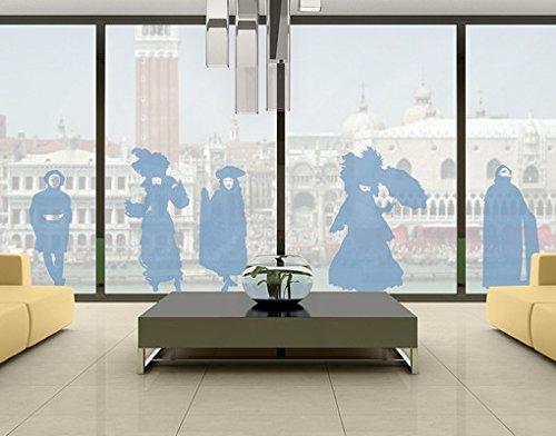 . MW104Venezianischer Karneval–Glas Fenster Film selbstklebend | Milchglas Film 5Farben Fenster Folie selbstklebend Sichtschutz Milchglas Badezimmer Farbe: Offshore Blau; Maße: 55cm x 130cm (Fenster Kostüm)