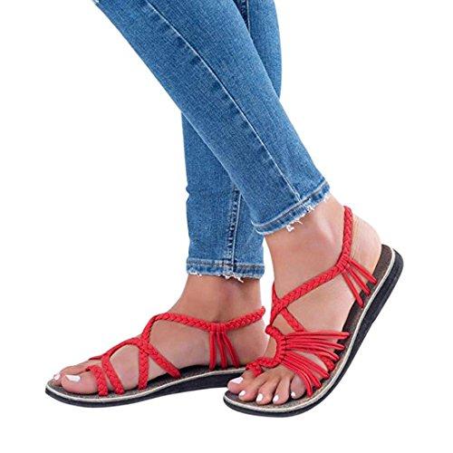 bb4d57a2ffc Sandalias Mujer Verano ❣JiaMeng Chanclas Sandalias Tejidas Correa Moda  Playa Zapatillas (35