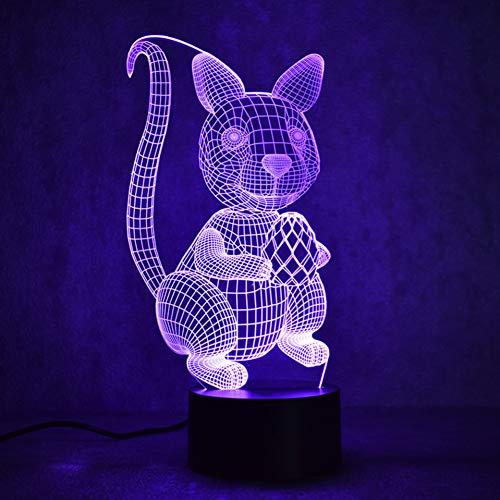 WZYMNYD 3D USB Visuelle Led Bunte Tier Eichhörnchen Mutter Nachtlichter Tischlampe Kreative Dekor Kinder Geschenke Baby Schlafzimmer Beleuchtung Lampe