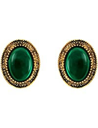 Donna Fashion Green Oval Stud Gold Plated Earrings With Crystals For Women ER30096GC