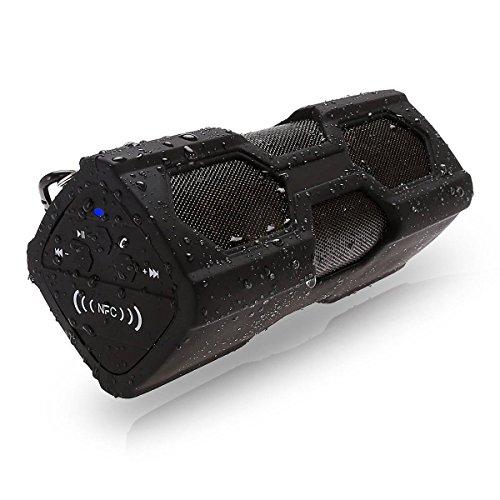 ELEGIANT Tragbare Mini Lautsprecher Portable Outdoor Sport Boombox Bluetooth Stereo V4.0 Wasserdicht Staubdicht Stoßfest NFC Lautsprecher Speaker 2 in 1 Funktionen mit 3600MAH power bank / Mic / NFC Funktion mit Metallhaken Schleife Idee für Anrufe und Akku für iPhone 6 / 6Plus, iPad Air, Samsung Galaxy S6, S6 Rand, LG G3, Nexus 5/4 und die meisten Android-Handys und Tablets, Laptop, PC