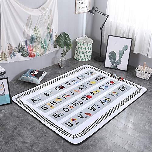 YQC Kinder Cartoon Englisch Alphabet Lernen Teppich Komfortable Rutschfeste Wohnzimmer Schlafzimmer Baby Krabbeldecke,150 * 200cm