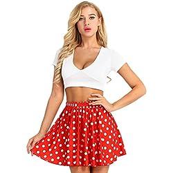 iEFiEL Faldas Cortas Mujer Verano Mini Falda Cóctel De Mujer Estampado a Lunares Media Cintura Vestir Rojo Talla Única