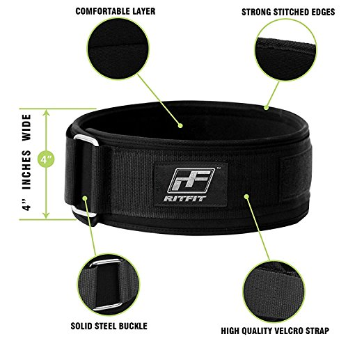RitFit-Weight-Lifting-Belt-Squat-Crossfit-Olympic-Lifting-for-Men-and-Women-4-Inch-Black-Firm-Comfortable-Lumbar-Support-with-Back-Injury-Protection-XXL-52-59-Inches