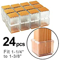 NYKKOLA 24PCS Chair Leg Square Furniture Floor Protectors with Felt Pads, Chair Glides Feet Caps Tips fit 1-1/4 to 1-3/8 Inch (3.0-3.5cm)