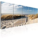 murando - Bilder Strand 225x90 cm Vlies Leinwandbild 5 TLG Kunstdruck modern Wandbilder XXL Wanddekoration Design Wand Bild - Landschaft Meer c-C-0176-b-m