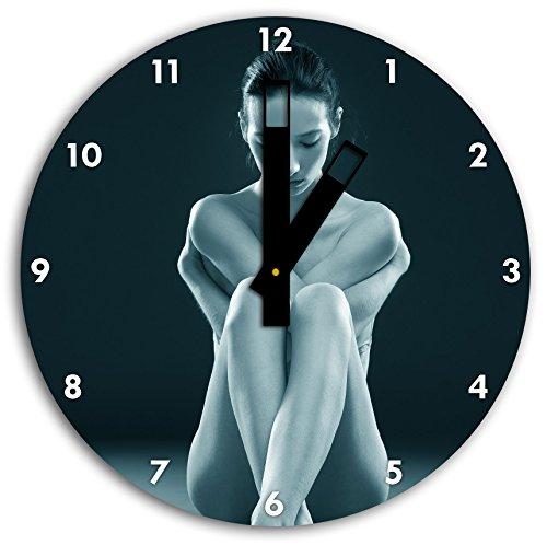 Femme nue faisant du yoga B & W en détail, diamètre horloge murale 30cm avec des mains carrées noires et visage, objets de décoration, Designuhr, composite aluminium très agréable pour séjour, bureau