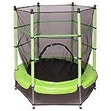 GOPLUS Trampolin Gartentrampolin Outdoor Indoor Trampolin Kindertrampolin Sprungmatte mit Sicherheitsnetz 160cm Farbwahl (Grün)