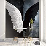 HONGYAUNZHANG Schwarz-Weiß-Flügel Benutzerdefinierte Fototapete 3D Stereoskopische Wandbild Wohnzimmer Schlafzimmer Sofa Hintergrund Wandmalereien,350Cm (H) X 430Cm (W)