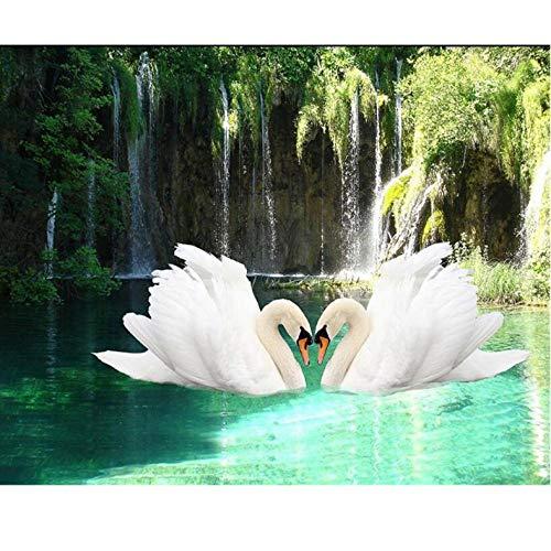 Wandbilder 3D Wallpaper Schwan Wasserfall Natur Frisch Sofa Tv Hintergrund Wohnzimmer Schlafzimmer Wandbild Fototapete Für Wände-200cmx283cm