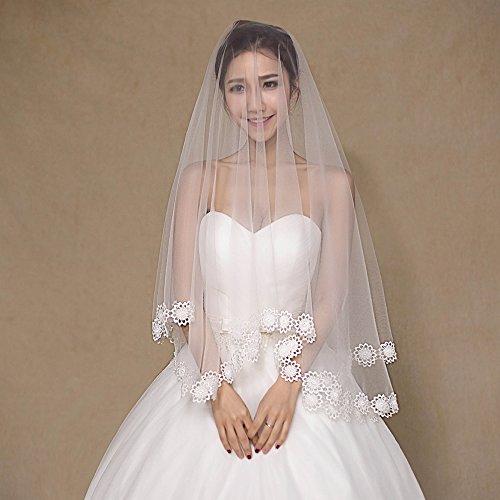 Short Lace Edge Single Layer Weiß Exquisite Hochzeit Zubehör ()