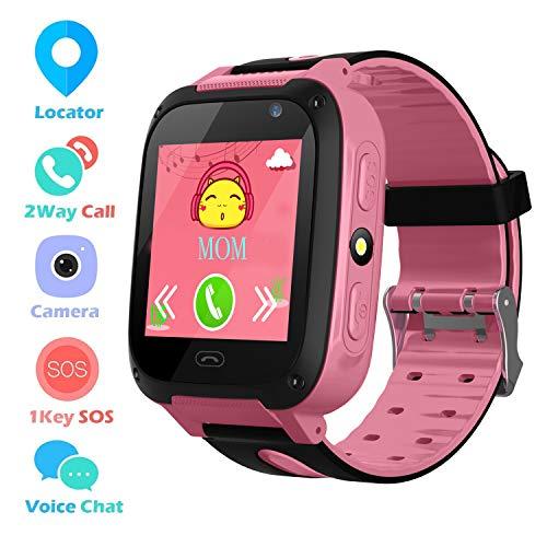 Kids Smart Phone Watch per 3-12 anni Boys Girls GPS / LBS Tracker Touch Screen SOS gioco telecamera anti-perso digitale da polso Sim bambini festa regalo di compleanno (Pink)