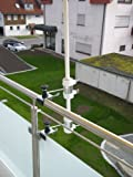 Schirmstöcke 25,5 - 55 mm Ø - 2 Stück - BALKON - Distanz - SONNENSCHIRMHALTER für BALKONGELÄNDER für Außen oder Innen Befestigung mit 11 cm Abstands Schirmhalter - Holly patentiert - für BEFESTIGUNG an runden oder eckigen Elementen von ca. 2 bis 35mm mit UNIVERSAL - Halterung 360 ° DREHBAR MIT GUMMISCHUTZKAPPEN zur kratzfreien BEFESTIGUNG - 360 ° schwenkbarer - HALTER mit DISTANZ BUCHSEN für SCHIRM STÖCKE von 25,5 bis Ø 55 mm mit 13 cm tiefer AUFNAHME HÜLSE -