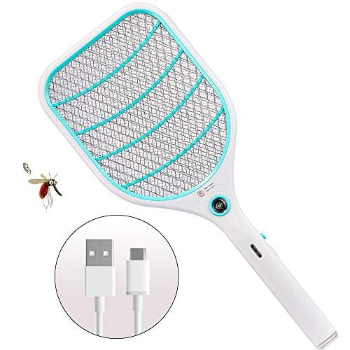 ZOMAKE Elettrico Zanzara Volare Swatter Zapper Racchetta, Insetti Mosquito Killer - 3000 Volt USB Ricaricabile - Protezione Maglia a Doppio Strato(Blu)