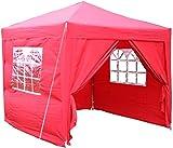 Airwave Pop-Up-Pavillon, 2,5 x 2,5 m, rot, wasserfester GartenPavillon, 2 Windstangen und 4 Gewichte für die Beine